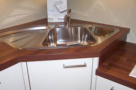 Kitchen  Corner Kitchen Sink Cabinet Ideas With Wood Countertop - Corner kitchen sink cabinet