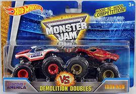 wheels monster jam trucks wheels monster jam captain america vs iron man demolition