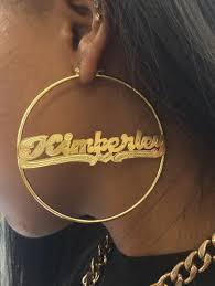 hoop earrings with name personalized 14k gold overlay name hoop earrings 3 inch plain