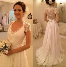 chiffon wedding dress lace back wedding dress with buttons flosluna flosluna