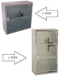wall mounted medicine cabinet stainless steel glass door lockable