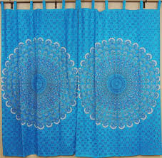 Peacock Curtains Peacock Curtains Blue Indian Cotton Window Panels With Fan
