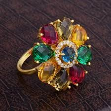 rings colored stones images Floral designer multi colored stones cocktail ring wholesale jpg