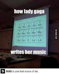 Table Meme - how lady gaga writes her music according to periodic table meme