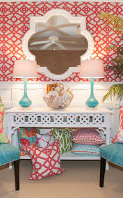 best 25 red and white wallpaper ideas on pinterest red and palm beach sun room coral is coming of age twin with graphic patterns and teal and white accessories for a vibrant elegant scheme