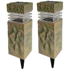 Solar Exterior Light Fixtures by Hampton Bay Solar Powered Rock Outdoor Pillar Path Light 2 Pack