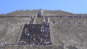 crowd of people at teotihuacan moon pyramid mexico city stock
