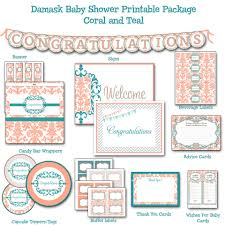 coral and teal baby shower printable package dessert bar decorations