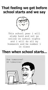 School Starts Tomorrow Meme - that feeling before school starts