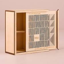 cubist laser cut natural wood keepsake box initials texts and