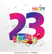happy birthday 23 date fun celebration stock vector 474068113