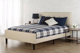 zinus upholstered button tufted platform bed full or queen