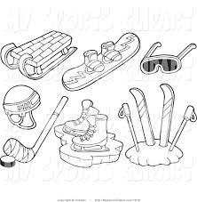 sports clip art of a black and white sled snowboard goggles ice