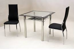 Small Black Leather Chair Square Glass Top Table With Silver Steel Legs Combined With Black