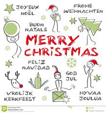 merry christmas multilingual christmas card royalty free stock