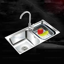 Double Sinks Nickel Brushed Stainless Steel Kitchen Sinks With Faucet - Brushed stainless steel kitchen sinks