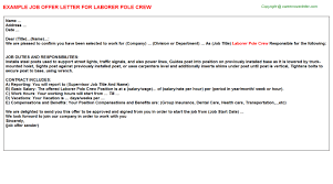 laborer pole crew offer letter