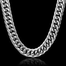 titanium curb chain necklace images Hip hop 24 inch 16mm cut heavy titanium stainless steel double jpg