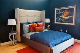 Blue Upholstered Headboard Bedroom Boy Bedroom Design With Blue Cotton Sheets And Beige