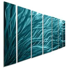Wall Paintings For Home Decoration Rays Of Hope Aqua Large Modern Abstract Metal Wall Art By Jon