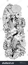 beautiful line art koi carp tattoo stock vector 673120117