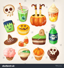 set colorful halloween party snacks treats stock vector 329805005