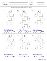 prime factorization trees factors worksheets use for homework or