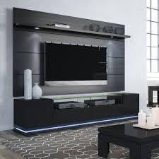 Wall Tv Furniture Vanderbilt Black Gloss U0026 Black Matte Tv Stand U0026 Cabrini 2 2