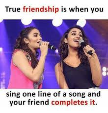 One Line Memes - true friendship is when you sing one line of a song and your friend