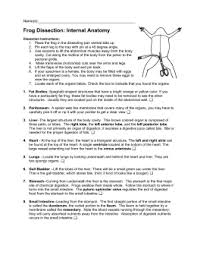 frog internal anatomy dissection instructions