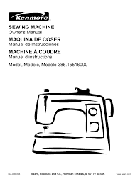 Kenmore Sewing Machine 385 15516 User Guide Manualsonline Com