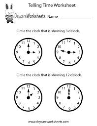 free printable telling time worksheet for preschool