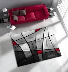 chambre gris et rouge de salon avec effet 3d gris et rouge chic