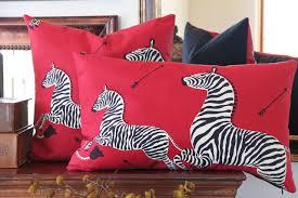 Scalamandre Masai Red Zebra Lumbar Throw Pillow l Chloe and Olive