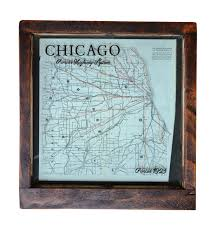 Chicago Road Map by Antique Chicago Road Map Framed Wall Art