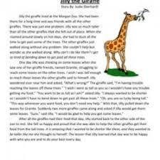 jilly the giraffe reading comprehension worksheet