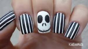 nail art jack skellington nail art easy halloween nails youtube