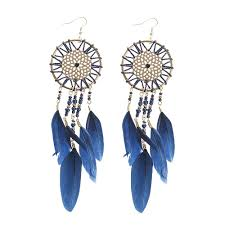 ear rings midnight blue feather catcher earrings
