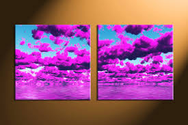 2 piece abstract purple clouds canvas artwork