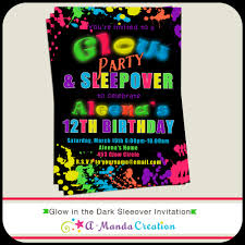 glow in the dark sleepover party invitation