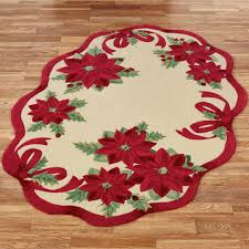 Red Oval Rug Holiday Ribbon Poinsettia Rugs