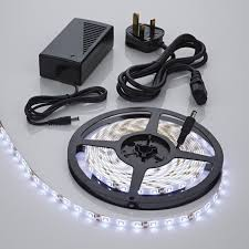 5 metre 300 led cool white 3528 strip lights kit ip65 waterproof