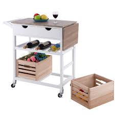 rolling kitchen island trolley cart with wine shelf kitchen