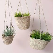 hanging planter basket natural woven hanging planter basket by bohemia notonthehighstreet com