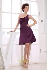 one shoulder empire waist cocktail dress short eggplant prom