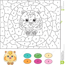 color by number educational game for kids cartoon hamster stock