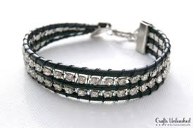 leather rhinestone bracelet images Leather bracelet with rhinestone chain tutorial jpg