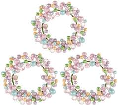 Candle Rings Set Of 3 Pastel Beaded Egg Candle Rings Page 1 Qvc