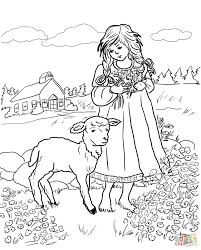 mary with a little lamb coloring page free printable coloring pages