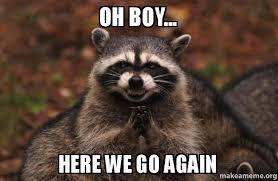 Here We Go Meme - oh boy here we go again evil plotting raccoon make a meme